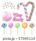 Vector realistic candies - cotton candie and lollipops isolated on white background 57095110