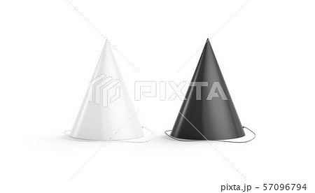 Blank black and white party hat mockup set, isolated 57096794