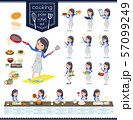 flat type Blue clothes headband girl_cooking 57099249