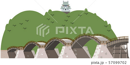 錦帯橋と岩国城 観光地イラストアイコン 57099702