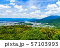[日本の観光イメージ] 関西の中心であり観光都市である京都の北側を望むパノラマビュー 57103993