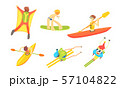 People Outdoors Activities Set, Skydiving, Surfing, Canoeing, Skiing Vector Illustration 57104822