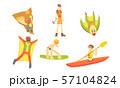 People Outdoors Activities Set, Skydiving, Surfing, Canoeing, Skiing, Mountaineering Vector 57104824