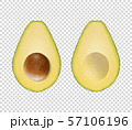 Vector 3d Realistic Cut Half Avocado with Seed Icon Set Closeup Isolated on Transparent Background 57106196
