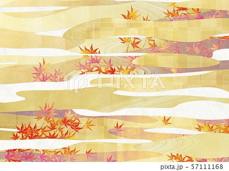 背景素材-和風-和モダン-金-紅葉-秋-雲-ライン 57111168