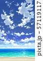 【縦PAN用】青空と雲と海と砂浜04_06 57119117