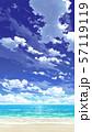 【縦PAN用】青空と雲と海と砂浜03_07 57119119