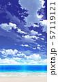 【縦PAN用】青空と雲と海と砂浜03_08 57119121