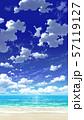 【縦PAN用】青空と雲と海と砂浜02_07 57119127
