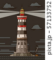 illustrations of lighthouse with rays at night. 57133752