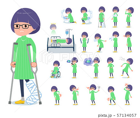 flat type Green clothes Glasses girl_sickness 57134057
