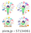 flat type Green clothes Glasses girl_mulch task 57134061