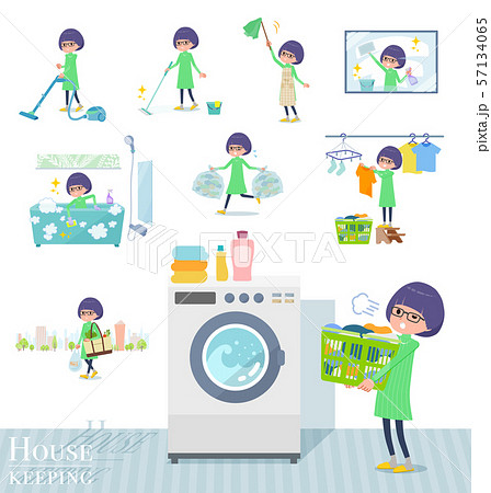 flat type Green clothes Glasses girl_housekeeping 57134065