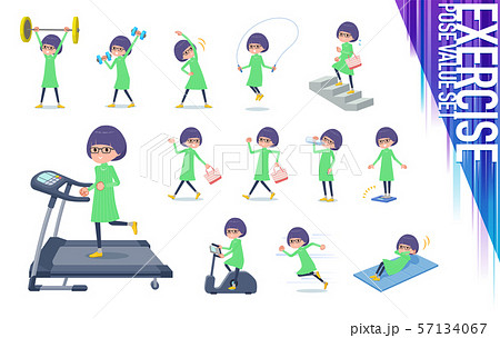 flat type Green clothes Glasses girl_exercise 57134067