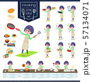 flat type Green clothes Glasses girl_cooking 57134071