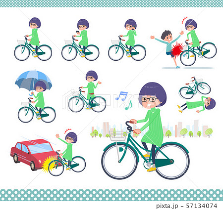 flat type Green clothes Glasses girl_city cycle 57134074