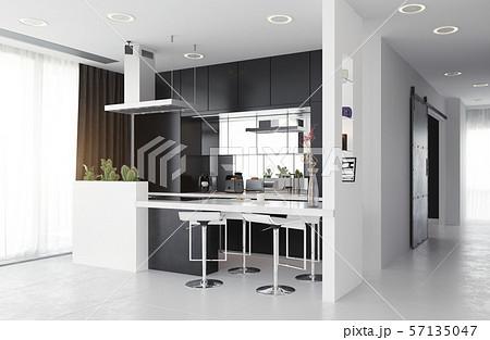 modern kitchen black&white interior. 57135047