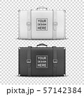 Vector 3d Realistic Retro Leather White and Black Threadbare Suitcase With Belts Icon Set Closeup 57142384