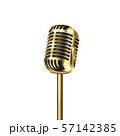 Vector 3d Realistic Steel Golden Retro Concert Vocal Microphone Icon Closeup Isolated on White 57142385