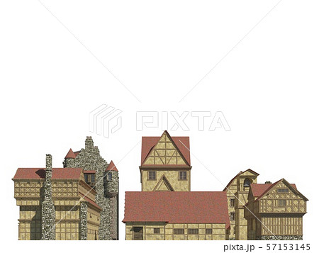 Fairy Tale Buildings Isolated on White Background 3D Illustration 57153145