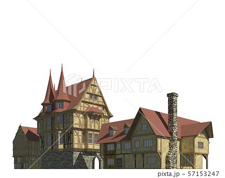 Fairy Tale Buildings Isolated on White Background 3D Illustration 57153247