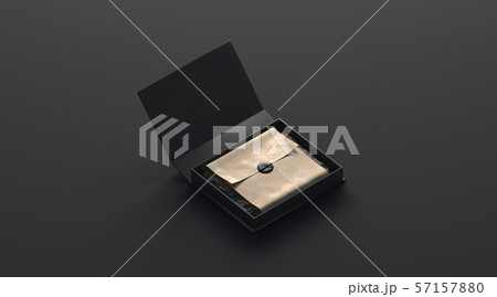 Blank black box with gift mockup with sticker isolated 57157880