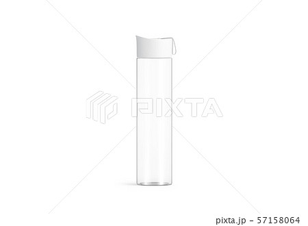 Blank white glass sport bottle mockup, isolated, front view 57158064