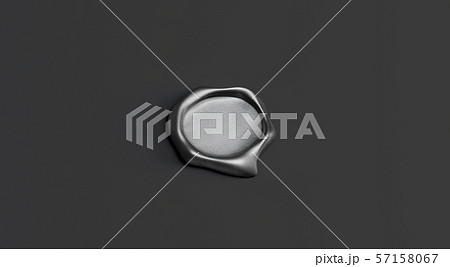 Blank gray wax stamp mock up, isolated on black background 57158067