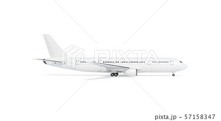 Blank white airplane mock up stand, profile, isolated 57158347