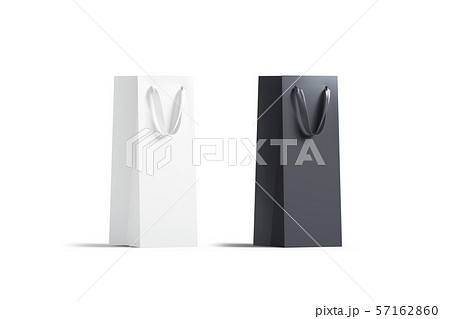 Blank tall black and white wine bottle bag mockup set 57162860