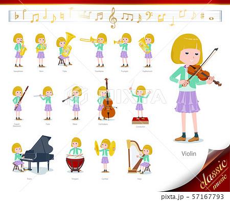 flat type blond girl white_classic music 57167793