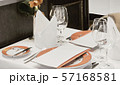 Restaurant Table Set Up With Wine Glass 57168581