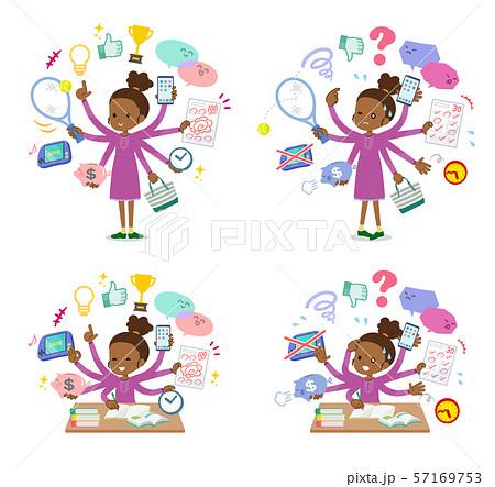 flat type Curly hair girl black_mulch task 57169753