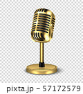 Vector 3d Realistic Steel Golden Retro Concert Vocal Microphone with Stand Icon Closeup Isolated on 57172579