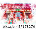 浅草の雷門 水彩画風 57173270