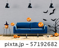 3D render of Halloween party in living room and pumpkins, jack-o-lantern 57192682