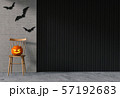 3D render of Halloween party in living room and pumpkins, jack-o-lantern 57192683