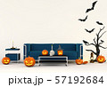3D render Halloween party in living room  with pumpkins, jack-o-lantern 57192684