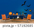 3D render of Halloween party in living room and pumpkins, jack-o-lantern 57192685