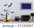 Halloween poster mock up in living room and pumpkins, jack-o-lantern. 3D render 57192687