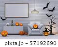 Halloween poster mock up in living room and pumpkins, jack-o-lantern. 3D render 57192690