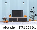 3D render Halloween party in living room  with pumpkins, jack-o-lantern 57192691