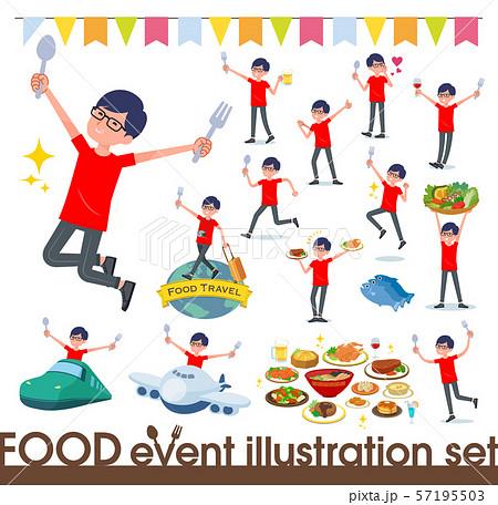 flat type red Tshirt Glasse men_food festival 57195503