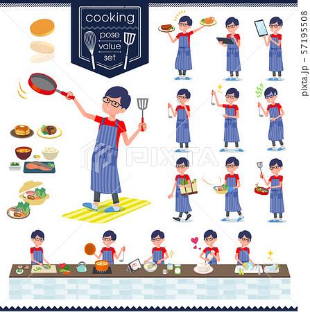 flat type red Tshirt Glasse men_cooking 57195508