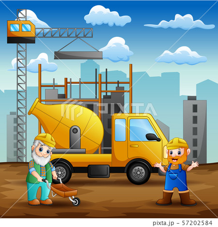 Construction worker at construction site background 57202584