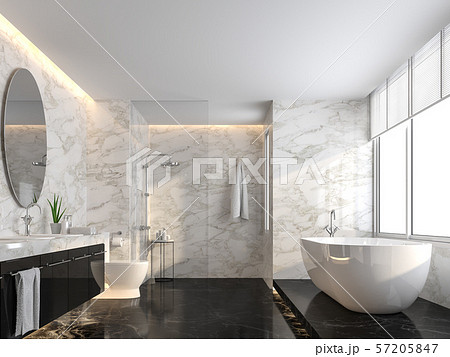 Luxury bathroom with black marble floor and white marble wall 3d render 57205847