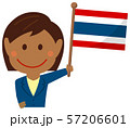 人種と国旗 / ビジネスマン・会社員  女性 上半身イラスト/ タイ 57206601