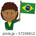 人種と国旗 / ビジネスマン・会社員  女性 上半身イラスト/ ブラジル 57206612