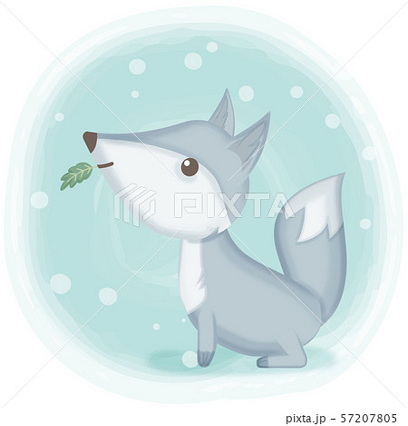 Cute fox hand drawn cartoon illustration 57207805