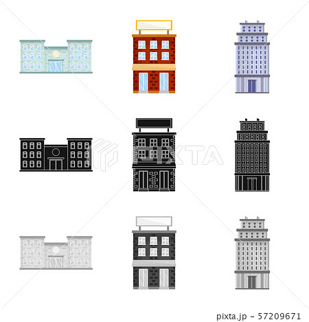 Isolated object of municipal and center icon. Set of municipal and estate stock symbol for web. 57209671